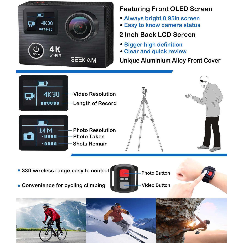 Горячая ttkk GEEKAM экшн Камера K8 со сверхвысоким разрешением Ultra HD, 4 K, WI-FI спортивные 360VR K8 1080 P двойной 2-дюймовый ЖК-дисплей 170D широкоугольный Водонепроницаемый шлем Cam м