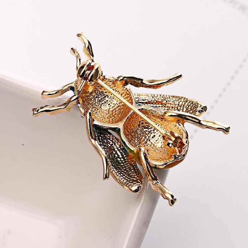الحشرات تلعثم النحل دبوس بروش للنساء مجوهرات التلبيب دبوس الذهب المينا دبابيس Harajuku الاكسسوارات دبابيس النساء الإناث الهدايا