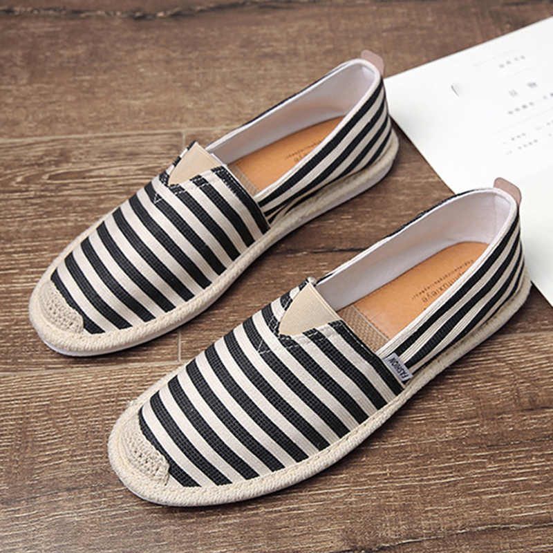 UPUPER Fashion Stripe Men's Canvas Shoes Sweat-absorbent Breathable Linen Casual Fisherman Shoes Men Old Beijing Cloth Shoes