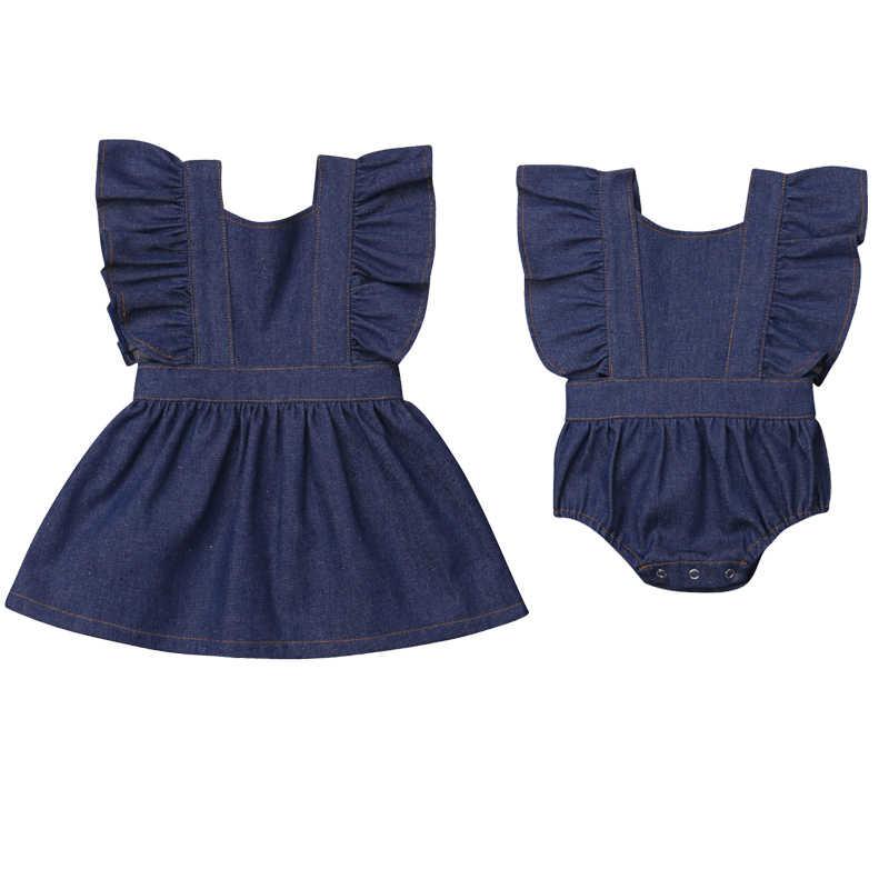 แฟชั่นทารกแรกเกิด Ruffles แขนกุด Denim ชุด Romper Jumpsuit Outfits ฤดูร้อน Sunsuit น้องสาว Match เสื้อผ้า
