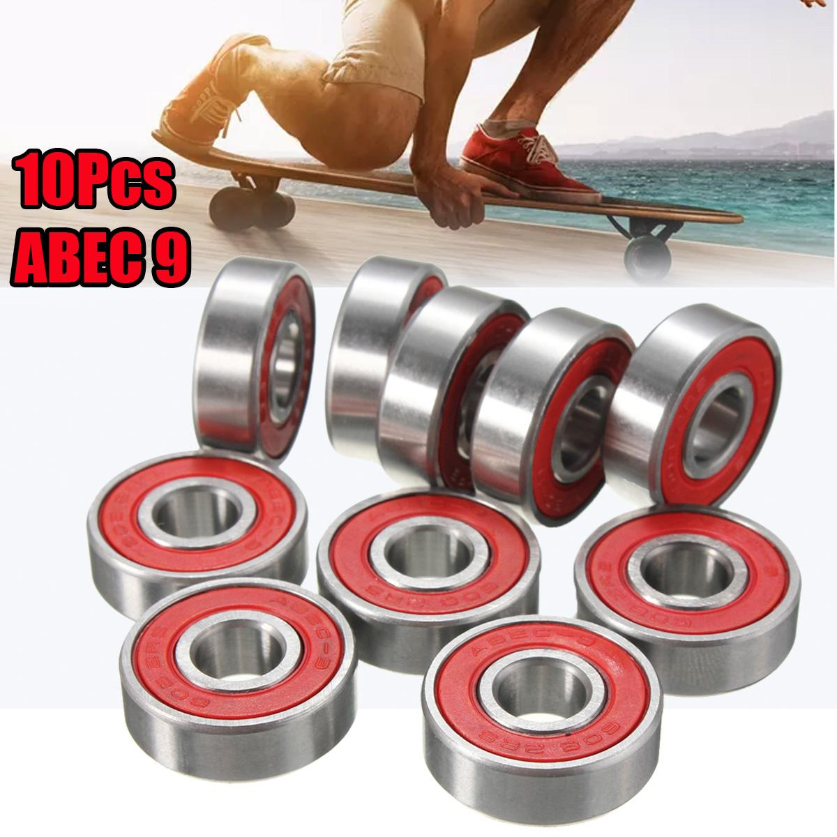 10x ABEC-9 608 2RS Inline Roller Skate Wheel Bearing Anti-rust Skateboard Wheel Bearing Red Sealed 8x22x7mm Shaft