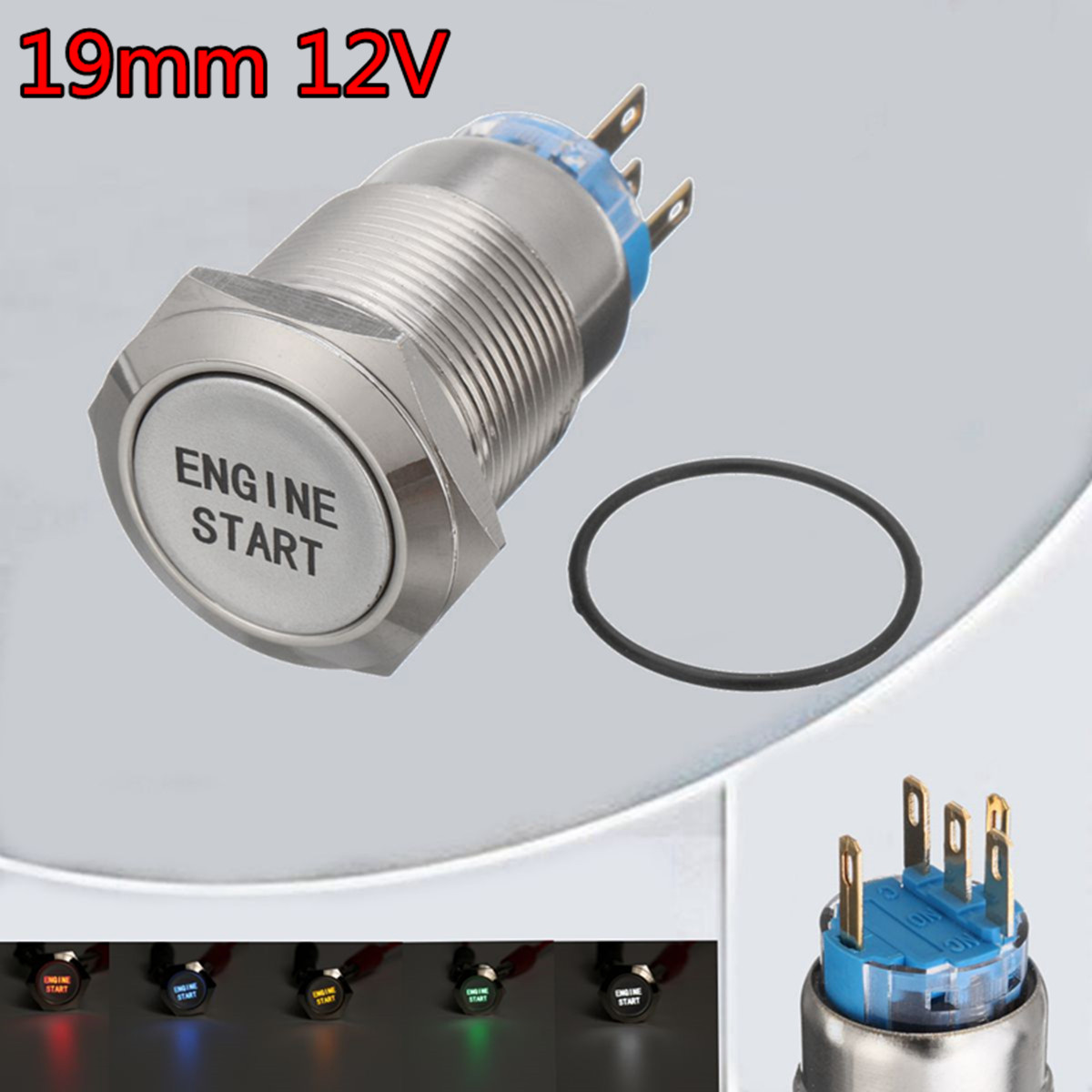 12V 19MM Car LED Push Button Switch Engine Start Momentary Starter Switches Aluminum Waterproof(China)