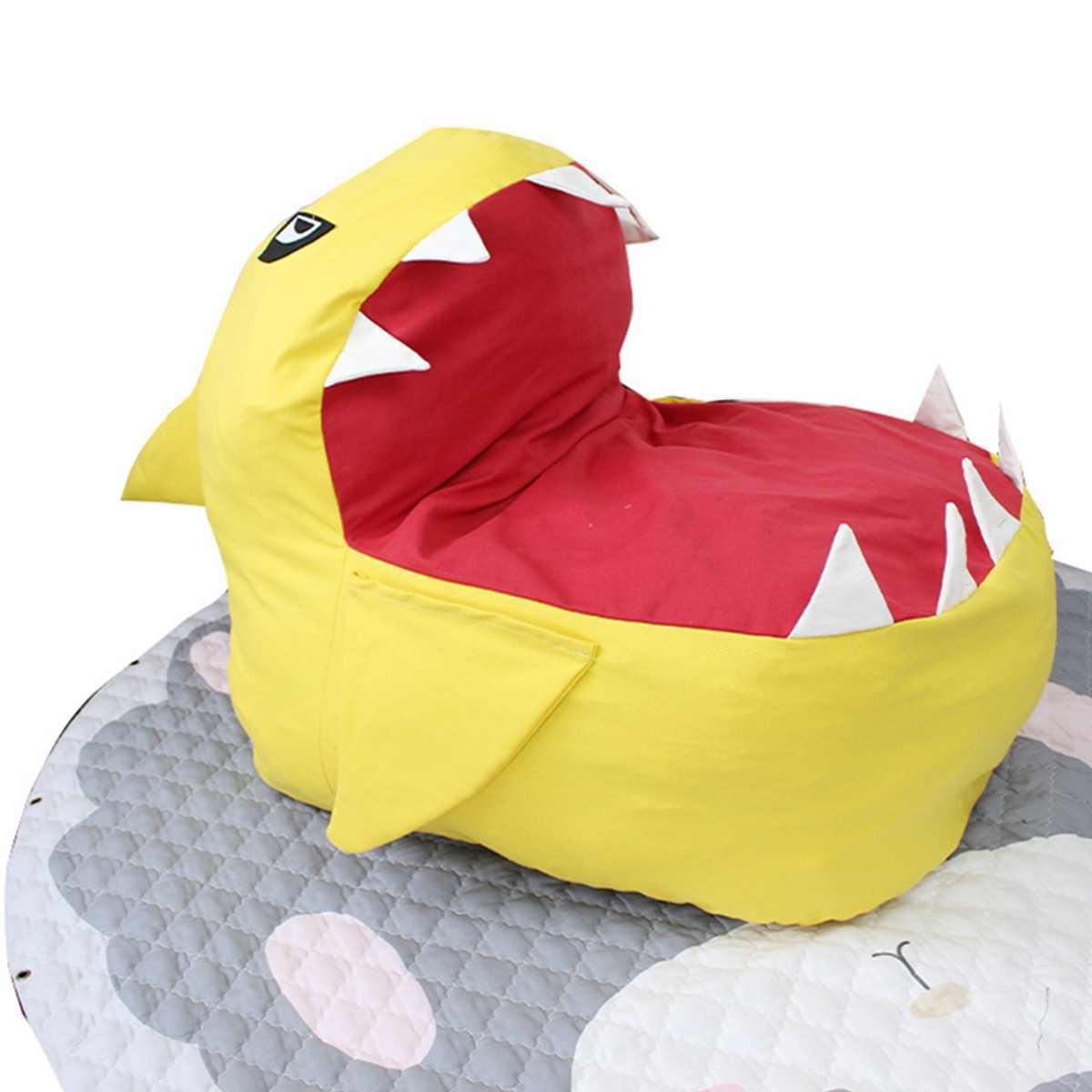 Детское сиденье диван Детское Кресло-мешок мультфильм Акула кожи высококлассные детские стул малыша гнездо мягкое сиденье Кресло-мешок только крышка без наполнения