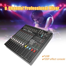 LEORY Professional 8 Channels Power Amplifie Mixer DSP Digital Audio Mixing Console with 48V Phantom Power USB Slot