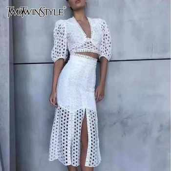 TWOTWINSTYLE Embroidery Hollow Out Women Suit V Neck Puff Sleeve Short Tops High Waist Split Skirt Female Two Piece Set Fashion - DISCOUNT ITEM  44% OFF All Category