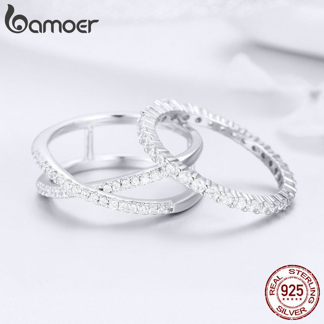 BAMOER 2pcs Authentic 925 Sterling Silver Dazzling CZ Geometric Finger Rings for Women Wedding Engagement Jewelry anel SCR463 2