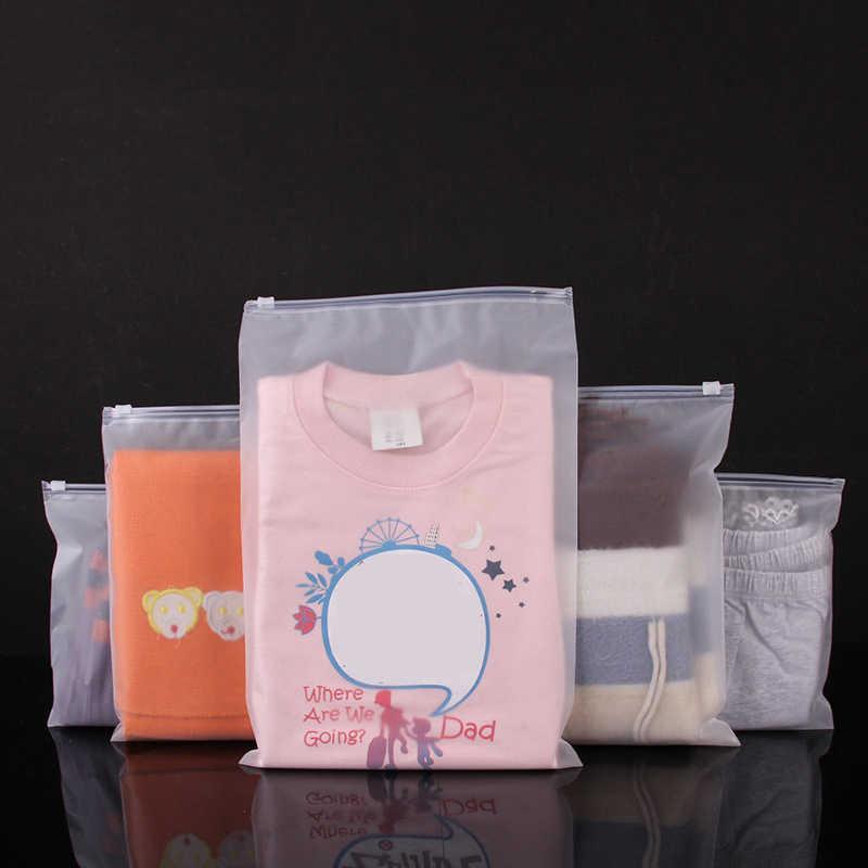 BalleenShiny 10 pçs/set Plástico Fosco sacos de Armazenamento Sacos Transparentes Com Zíper Roupas Camisas da Selagem do Malote de Artigos Diversos Viagem Organzier