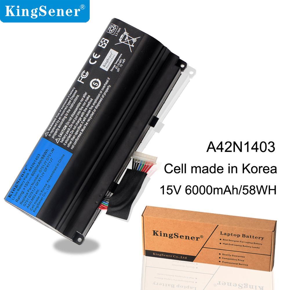 Kingsener A42N1403 Battery Replacement For ASUS ROG G751 GFX71JY GFX71JT G751JY G751JM G751JT A42LM9H A42LM93 4ICR19/66 2 8cells