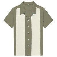 White Vertical Striped Shirt Men Casual Button Down Dress Cotton Shirts Short Sleeve Camiseta Retro Hombre Bowling Men's Shirts