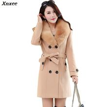Plus Size 2019 new Winter Womens Double Breasted Big Fur Collar Wool Coat Long Jackets Parka Coats Outerwear High Quality