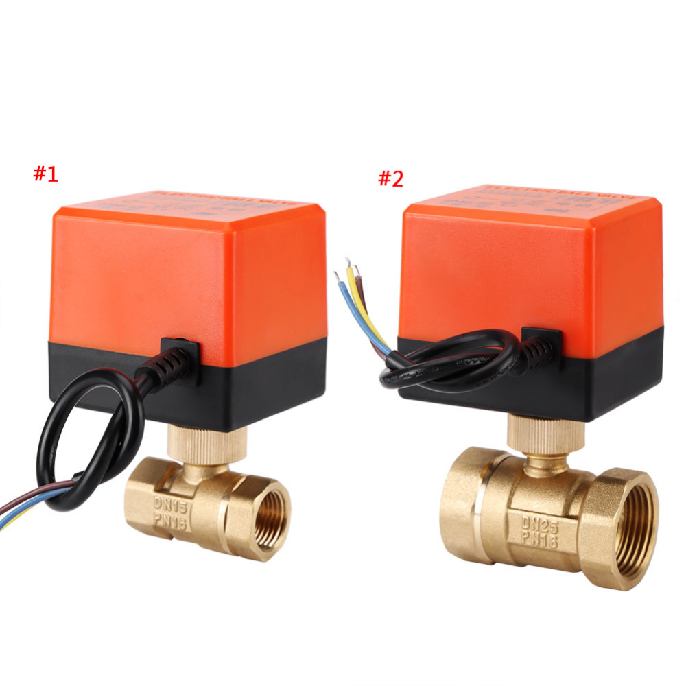AC 220V DN15 DN25 Ball Valve Brass Electric Motorized 2 Way 3-Wire Water Oil Gas Valve 1.6Mpa Thread 90 Degree Rotation Thread