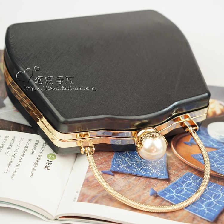 18,3X15,5 cm Metall Geldbörse Rahmen Mit Gold Tasche Griff Schwarz Kunststoff Box Frauen Brieftasche Box Kupplungen Geldbörse Rahmen großhandel Obag Griff