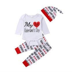 Милый хлопковый комплект одежды из 3 шт. для новорожденных мальчиков и девочек с надписью «My 1st Valentine's Day», боди с длинными рукавами + штаны с