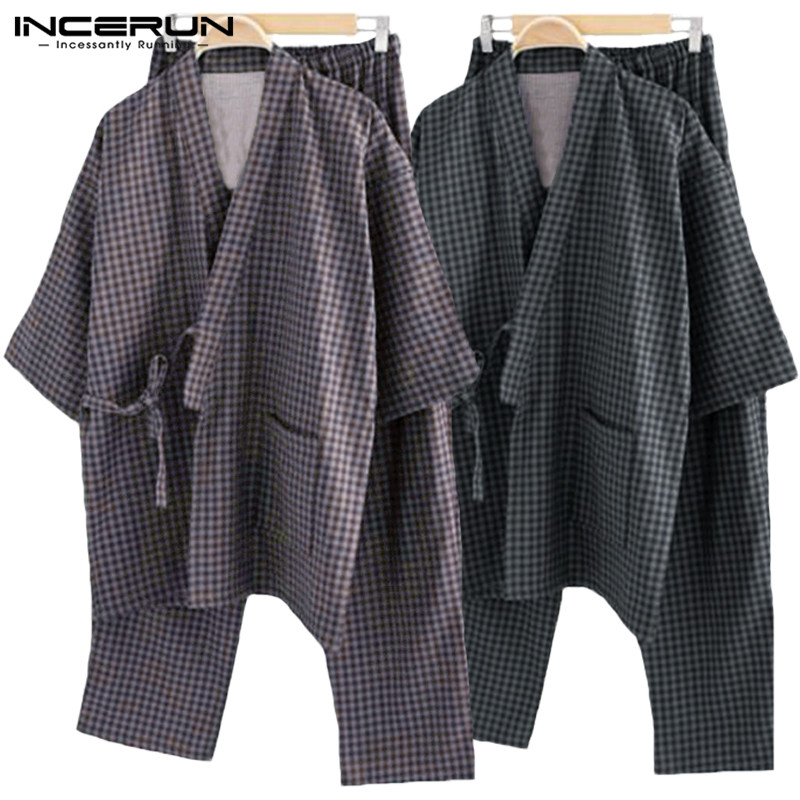 Pajama-Sets Suits Kimono Sleepwear Lounge Male Cotton Man Gown Robe Comfortable Stripe