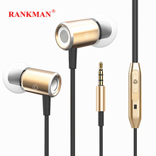 Rankman Stereo Magnetic Earphones Bass Sport Earbuds Wired In Ear Earphones with Mic for phones MP3 PC stereo mp3 in ear earphones red 3 5mm plug 110cm cable