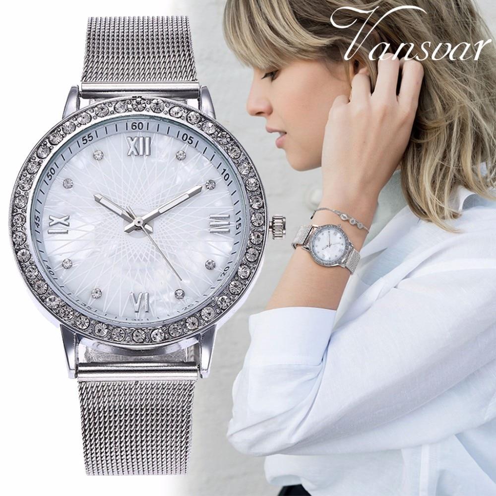 Drop Shipping Fashion Women Rhinestone Watches Casual Ladies Silver & Rose Gold Wristwatches Gift Clock Relogio Feminino Hot