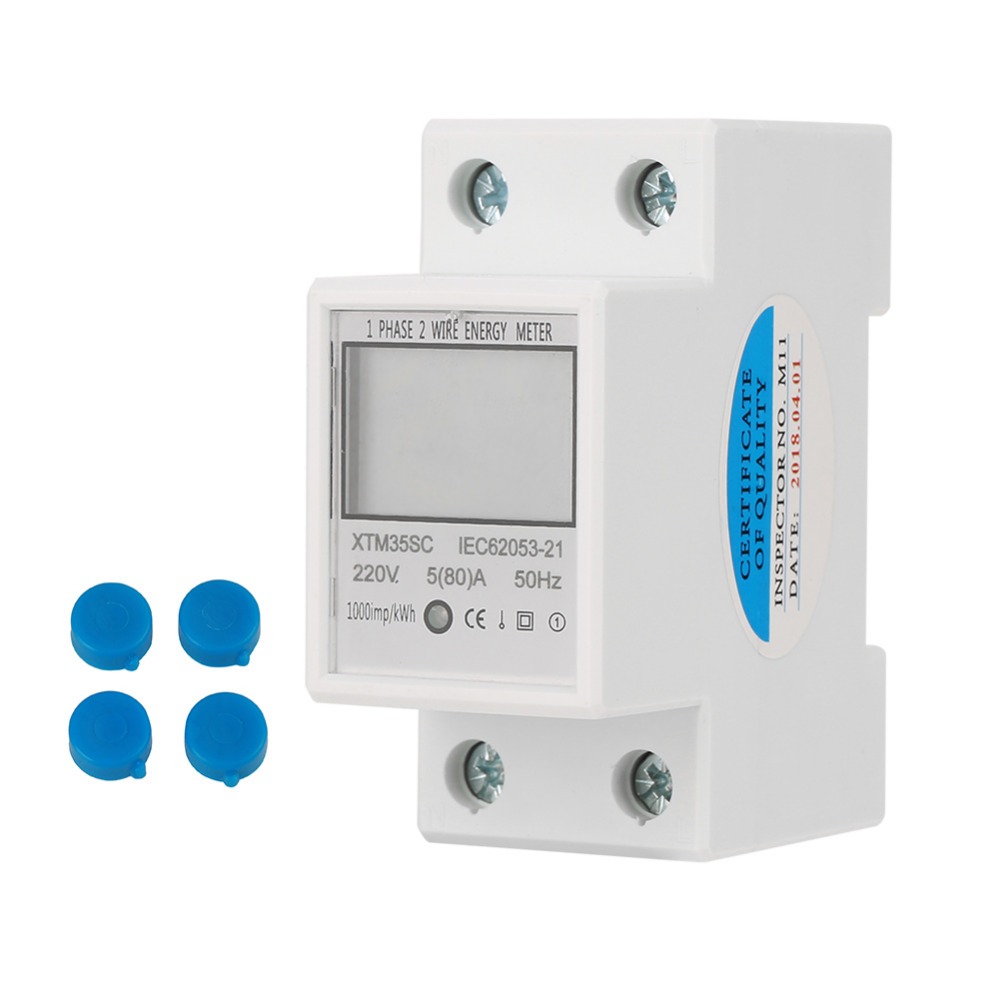 Hot Digital 2P DIN Rail Electric Meter 5(80)A 1 phase 2 Wire
