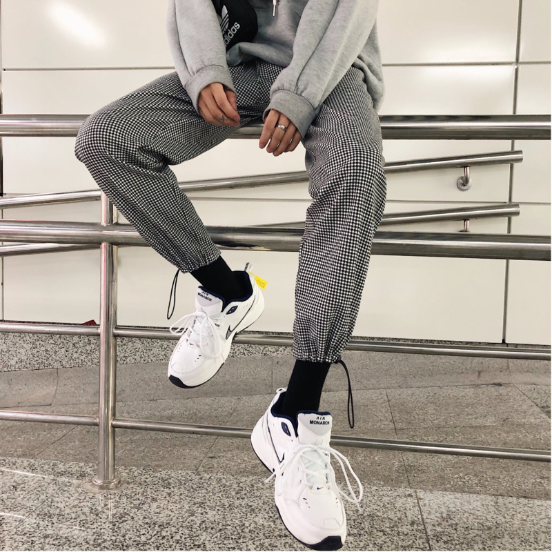 Spring New Casual Men 39 s Harem Pants M 2XL Youth Personality Wild Polyester Lattice Nine Pants Fashion Loose Temperament in Harem Pants from Men 39 s Clothing
