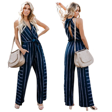 цена на Jumpsuits Halter Sleeveless V Neck Wide Leg Jumpsuit Hollow Out Back Casual Summer