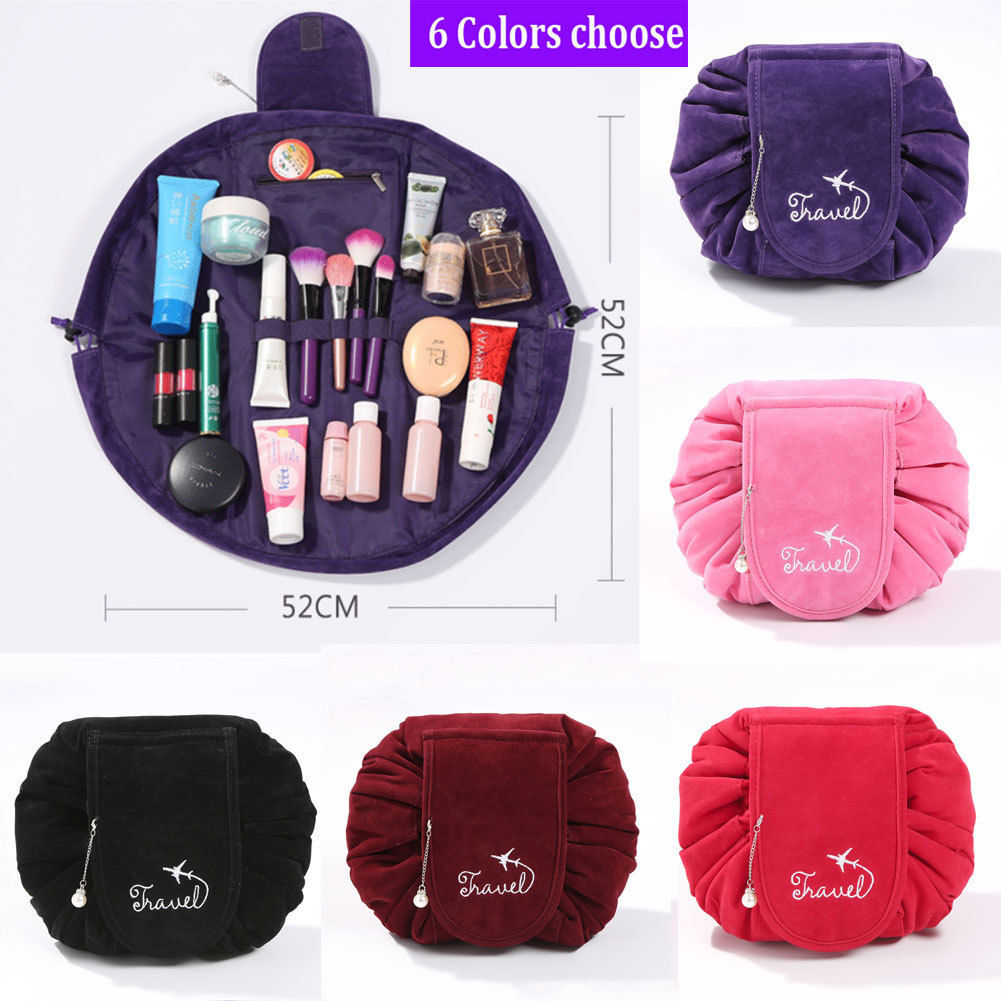 New Fashion Women Velvet Drawstring Cosmetic Bag Makeup Quick Pack Portable Organizer Handbag Travel Beauty Cases