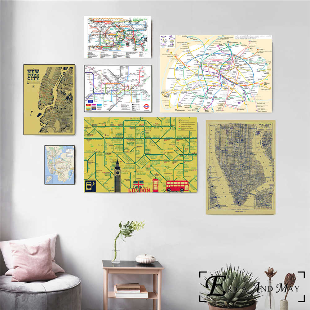 Subway Map Wall Art.Detail Feedback Questions About New York London Subway Map Vintage