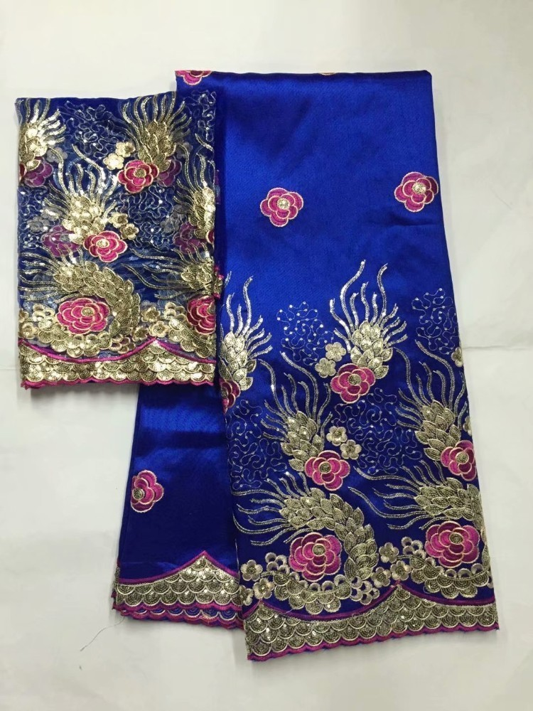 Embroidered George Lace Fabric With BLouse For India Wedding Dresses Royal Blue 2019 New Fashion Gold