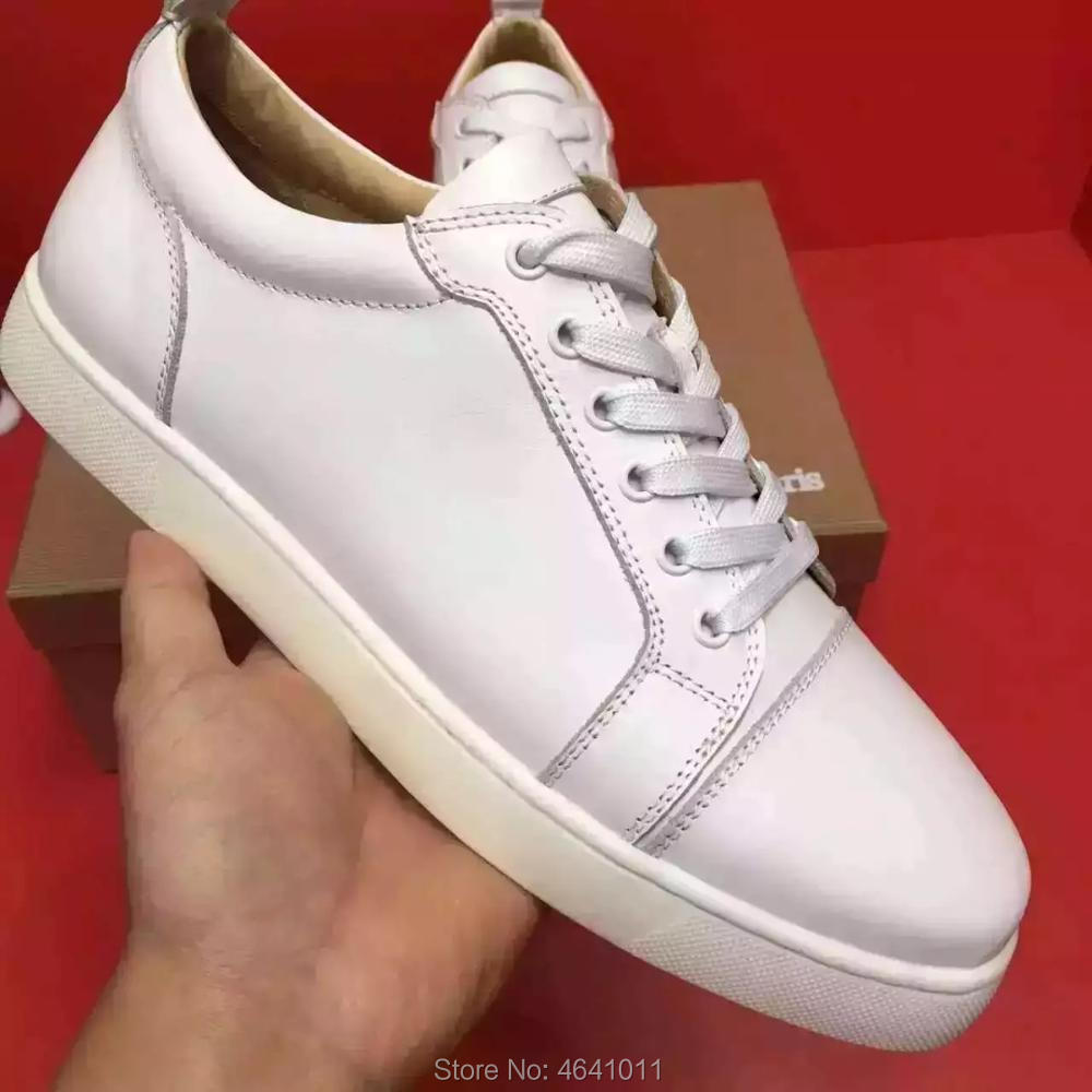 Lace Up cl andgz trend patent leather red bottoms low Cut For Men shoes White Rivet