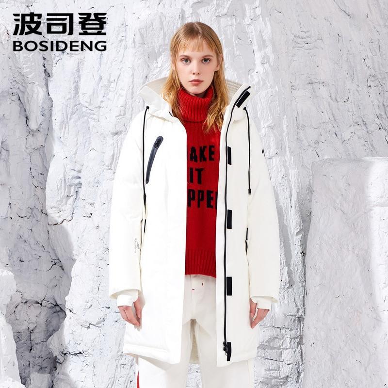 BOSIDENG 2018 Gore tissu windstopper 90% veste en duvet d'oie hiver épaissir manteau pour les femmes imperméable à capuche B80142216