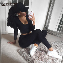 Women Yoga Set Seamless Leggings+Cropped Shirts Gym Clothing Workout Sport Suit Female Long Sleeve Fitness Set Active Wear two tone cropped gym leggings