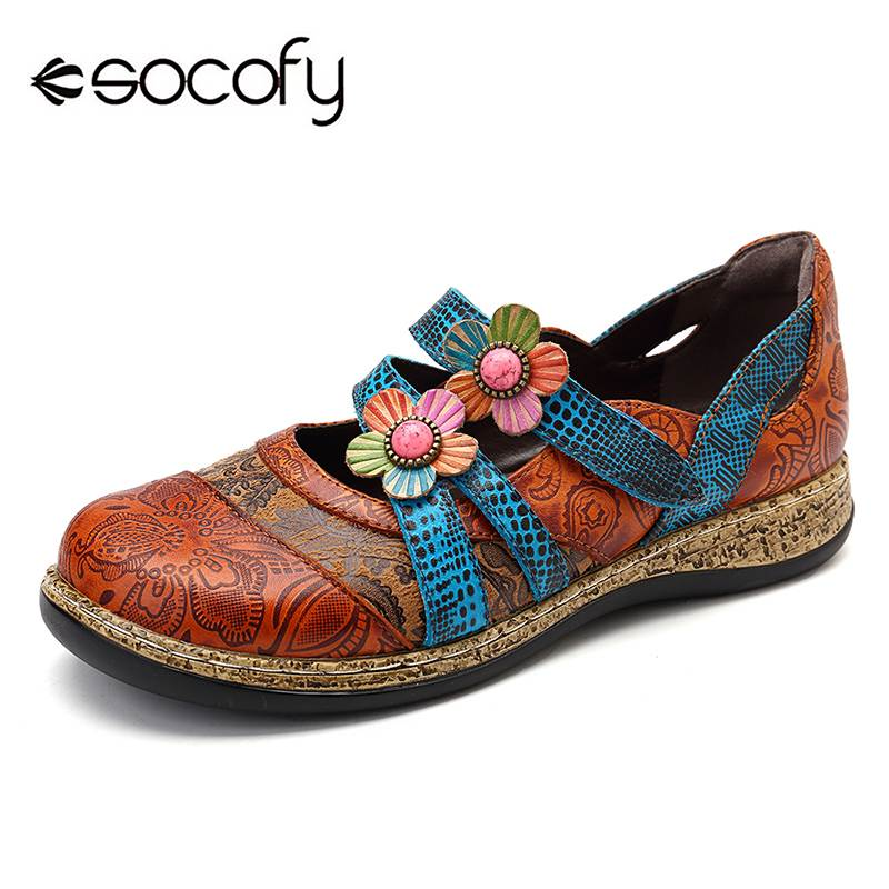 SOCOFY Vintage Floral Genuine Leather Splicing Colored Stitching Hook Loop Flat Shoes Spring Summer Casual Women Flat Shoes New