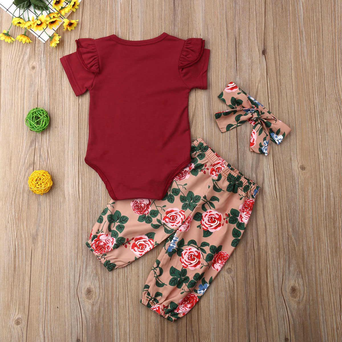 Новинка 2019 года; стильный красный комбинезон с короткими рукавами для новорожденных девочек; сезон весна-лето-осень + штаны с цветочным принтом + повязка на голову; комплекты одежды для детей 0-18 месяцев