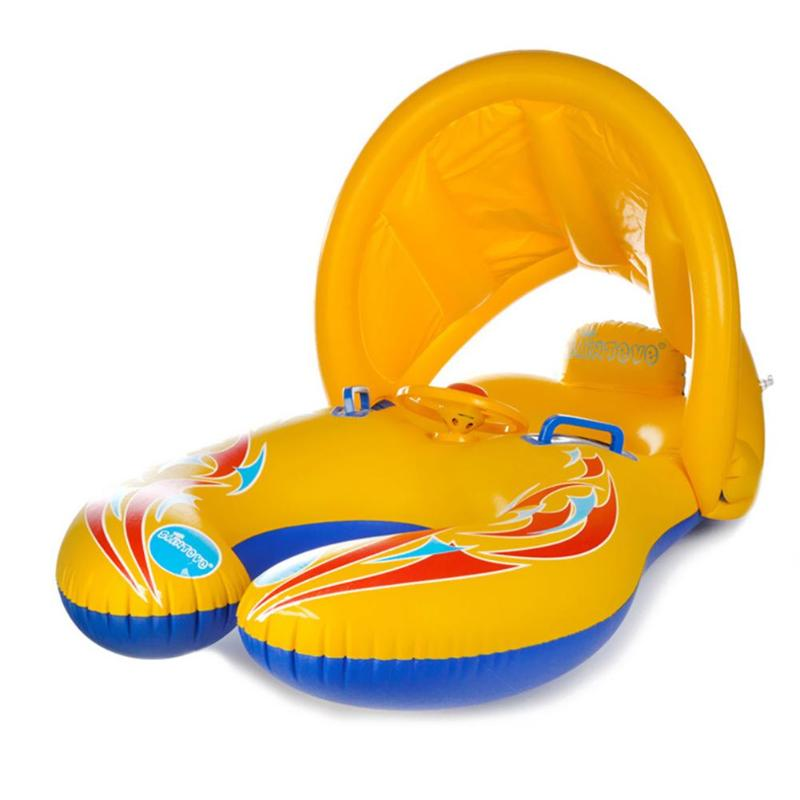 Safe Soft Inflatable Mother & Baby Swim Float Ring Kids Seat Double Person Swimming Pool Blue/Yellow Color Outdoor Swim