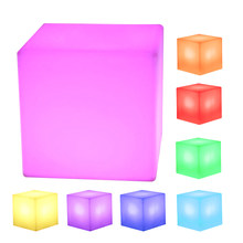 20 X 20 X 20cm LED Cube Rechargeable Cordless Decorative Light Luminous Stool With 16 Colors Remote Control Decoration Crafts(China)