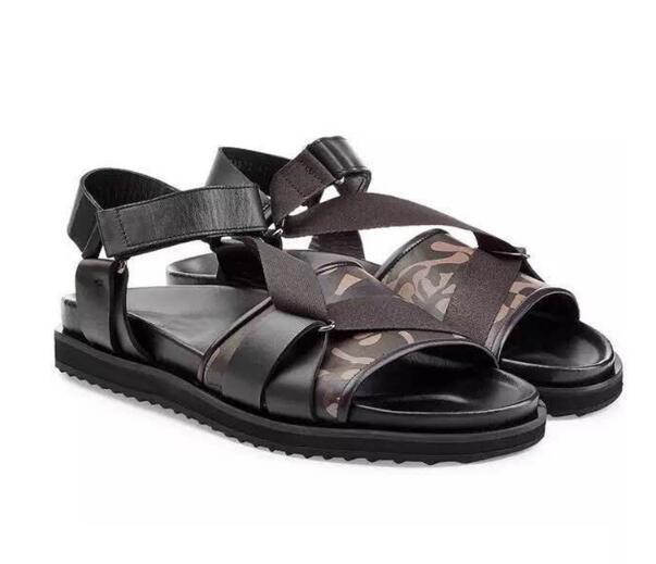 Sandalias Genuino Playa Abierta Verano Hombres Zapatos Hombre Talón De Gladiadores Plano Roma Punta Black Cuero RAvxqwnPg