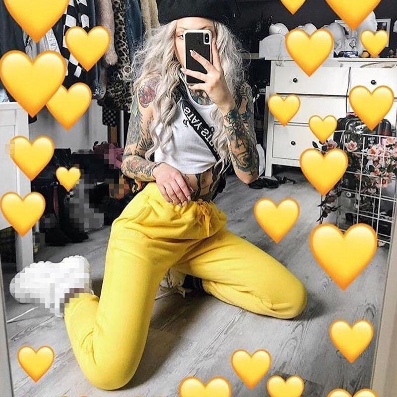 2019 Spring   Capris   Pockets Track   Pants   Women Casual Elastic High Waist Trousers Yellow Color Sweat   Pants   Solid Harem   Pants