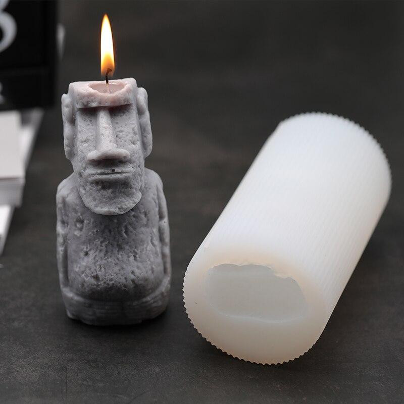 Molde de vela Isla de Pascua estatuas de piedra de Moai yeso de aromaterapia silicona molde de hormigón decoración del hogar adorno regalo Diy-in Moldes de arcilla from Hogar y Mascotas    1