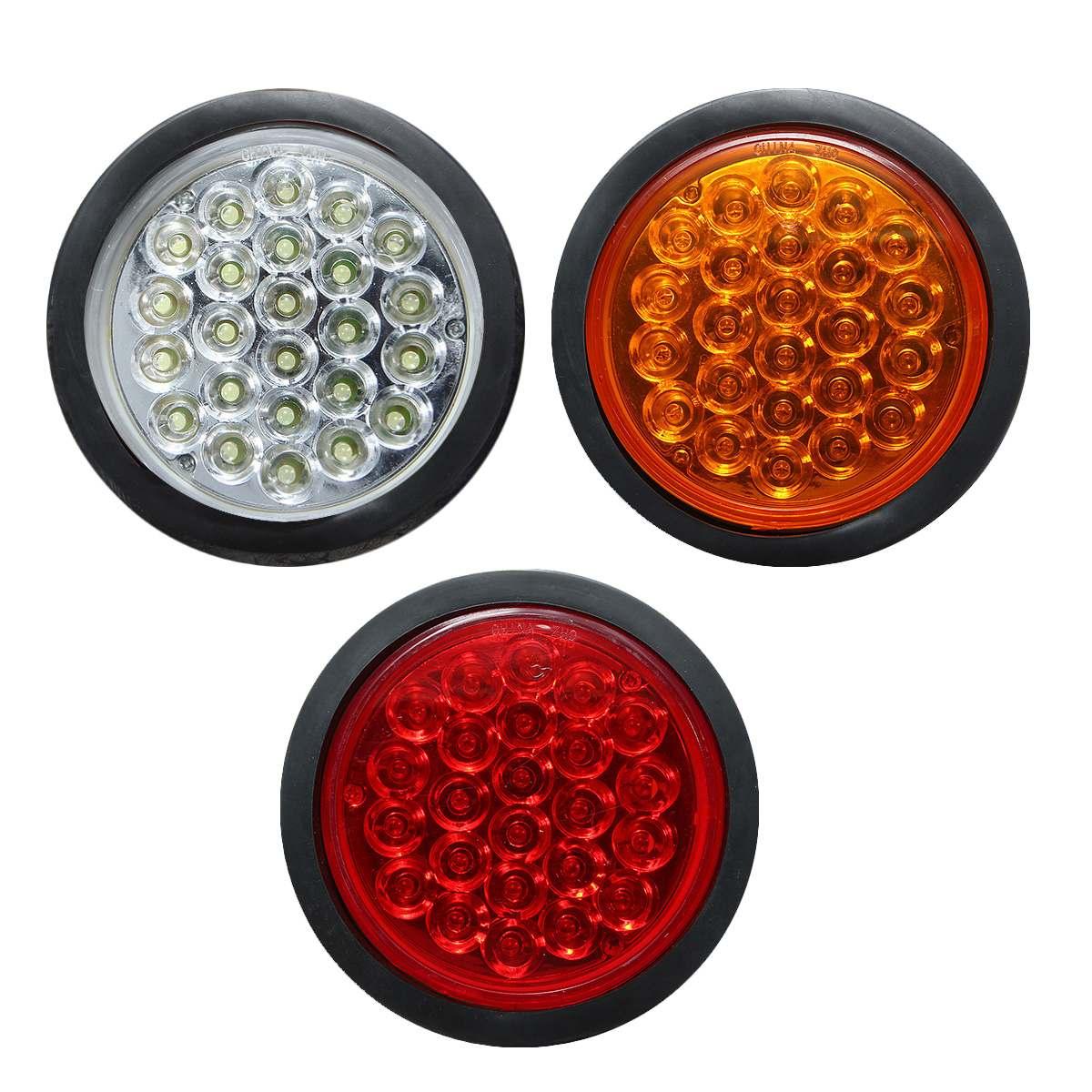 2 Round 2.5 Red Trailer Marker Lights With Brackets