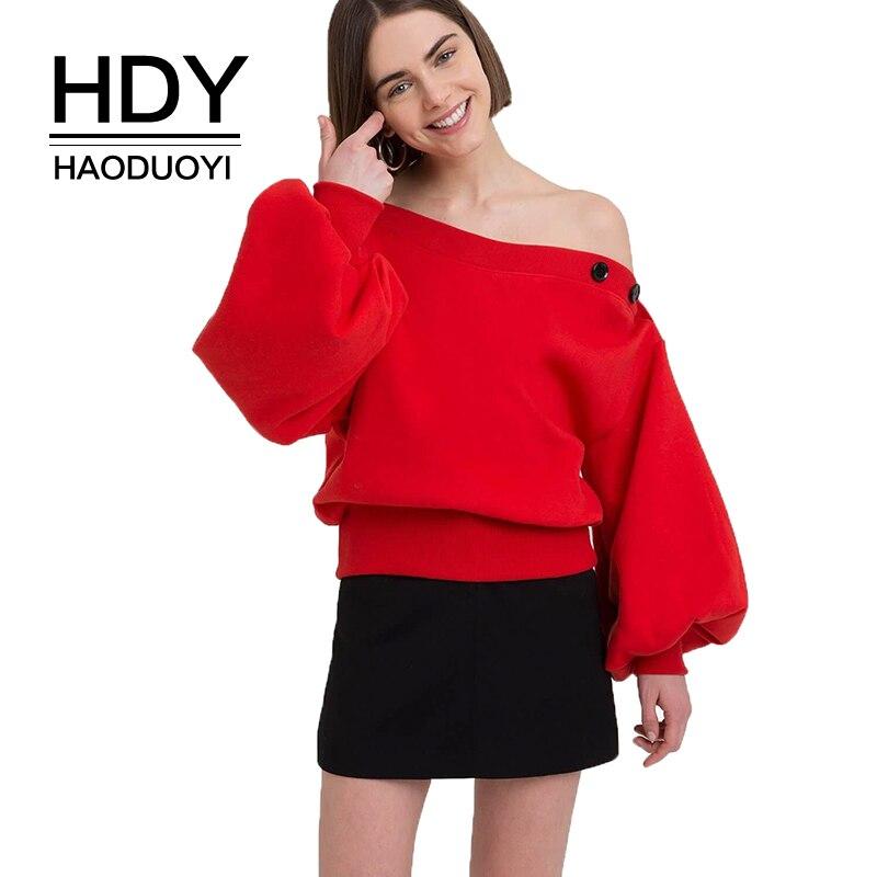 HDY haoduoyi 2019 Harajuku Women Solid Color Top Long Sleeve Collar Off Shoulder Sweatshirt Pullover