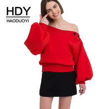 HDY haoduoyi 2019 Harajuku Women Solid Color Top Long Sleeve Collar Off Shoulder Sweatshirt Pullover