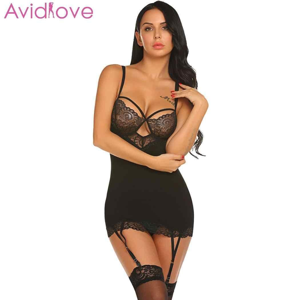 6e6d84b7a4d0 Avidlove mujeres Sexy Lencería Medias talla grande cuello en V encaje  erótico Ligerie vestido de noche