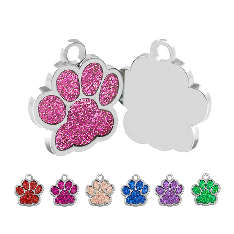 26650d0a5db7 Wholesale 100Pcs Personalized Dog Tags Engraved Cat Puppy Pet ID Name  Collar Tag Pendant Pet Accessories Paw Glitter Pet Store