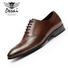 DESAI Mens Carved Genuine Leather Shoes Handmade Business Dress Brogue Oxfords Men Formal Brown Shoe Large Size 37-44