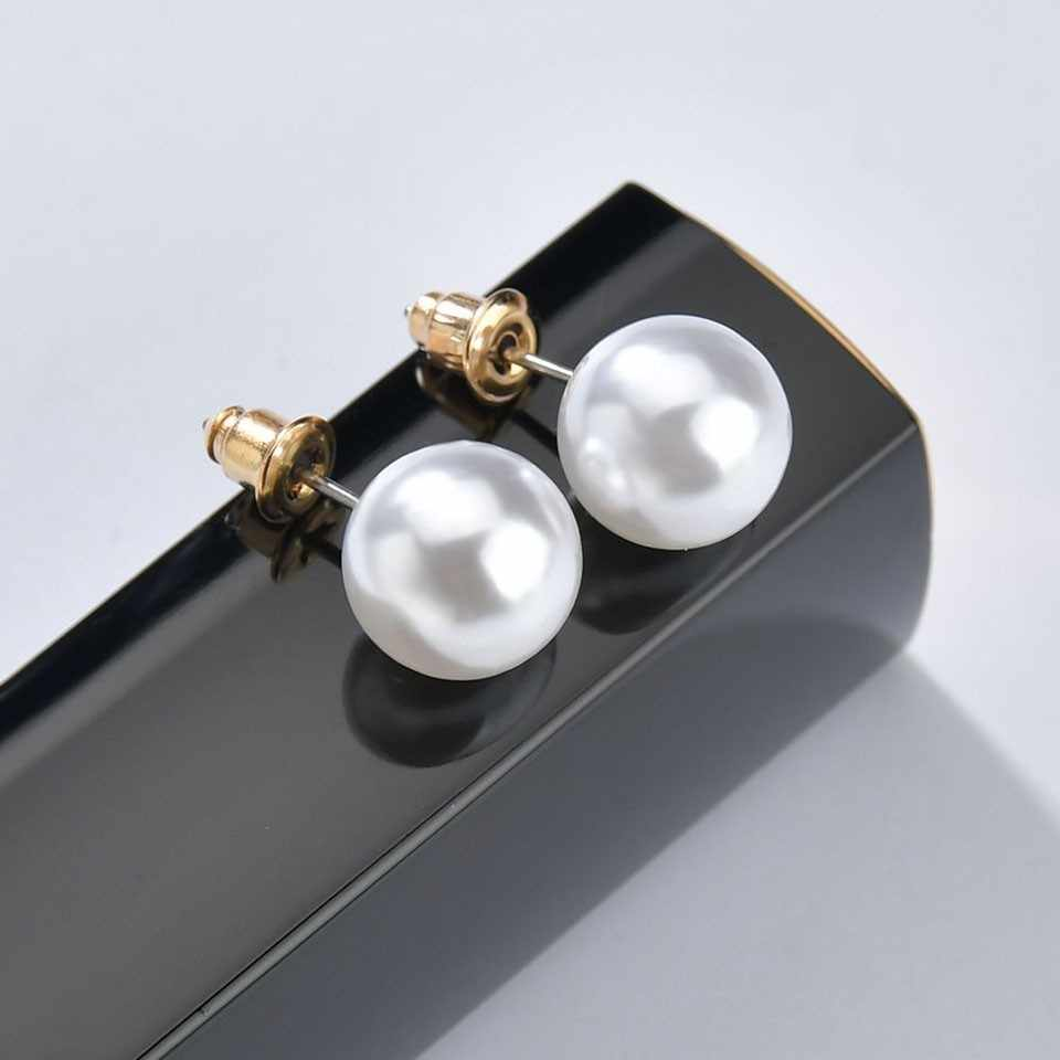 Free Shipping Minimalism Stud Earrings Women Trendy Elegant Pearl Earrings Fashion Jewelry Beautiful Anniversary Earrings Gift