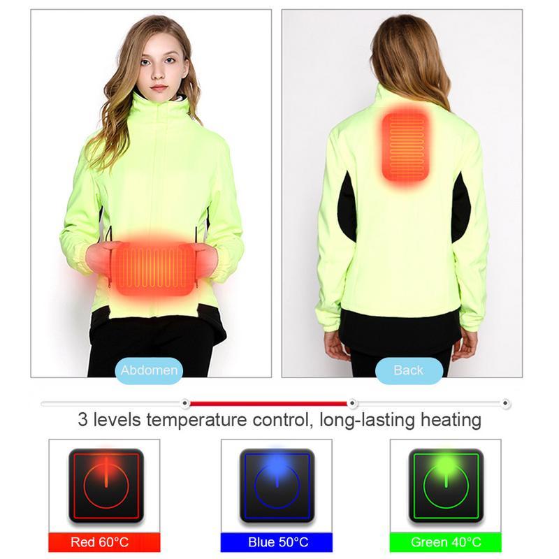 Women Winter USB Heating Hiking Jacket Clothing Smart 3 Mode Heated Outdoor Waterproof Windbreaker Camping Climbing Coats