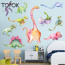 Tofok New 3D Cartoon Dinosaur Wall Sticker Nursery Kids Room Paper Animal Art Vinyl Poster Removable Decals Home Decor