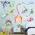 Tofok Новый 3D мультфильм наклейка на стену «динозавр» детская комната обои животных виниловая наклейка плакат съемные настенные наклейки для...