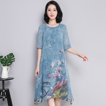 2019 Summer Plus Size Women Casual Half Sleeve O Neck Floral Print Dress Elegant A-line Knee-Length Party Dresses Vestidos short sleeve white lotus printing o neck women dresses casual cotton linen knee length dress vestidos summer plus size