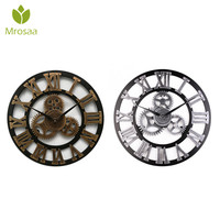 45cm Round Gear Wall Clock Roman Numerals Open Face Modern Creative Wall Clocks Vintage Design Haning clock High quality