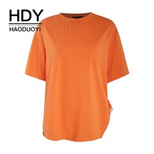 HDY Haoduoyi 2019 Girl New Summer T-shirt Simplicity Temperament Easy Cultivate Oneself Opening Design Tie