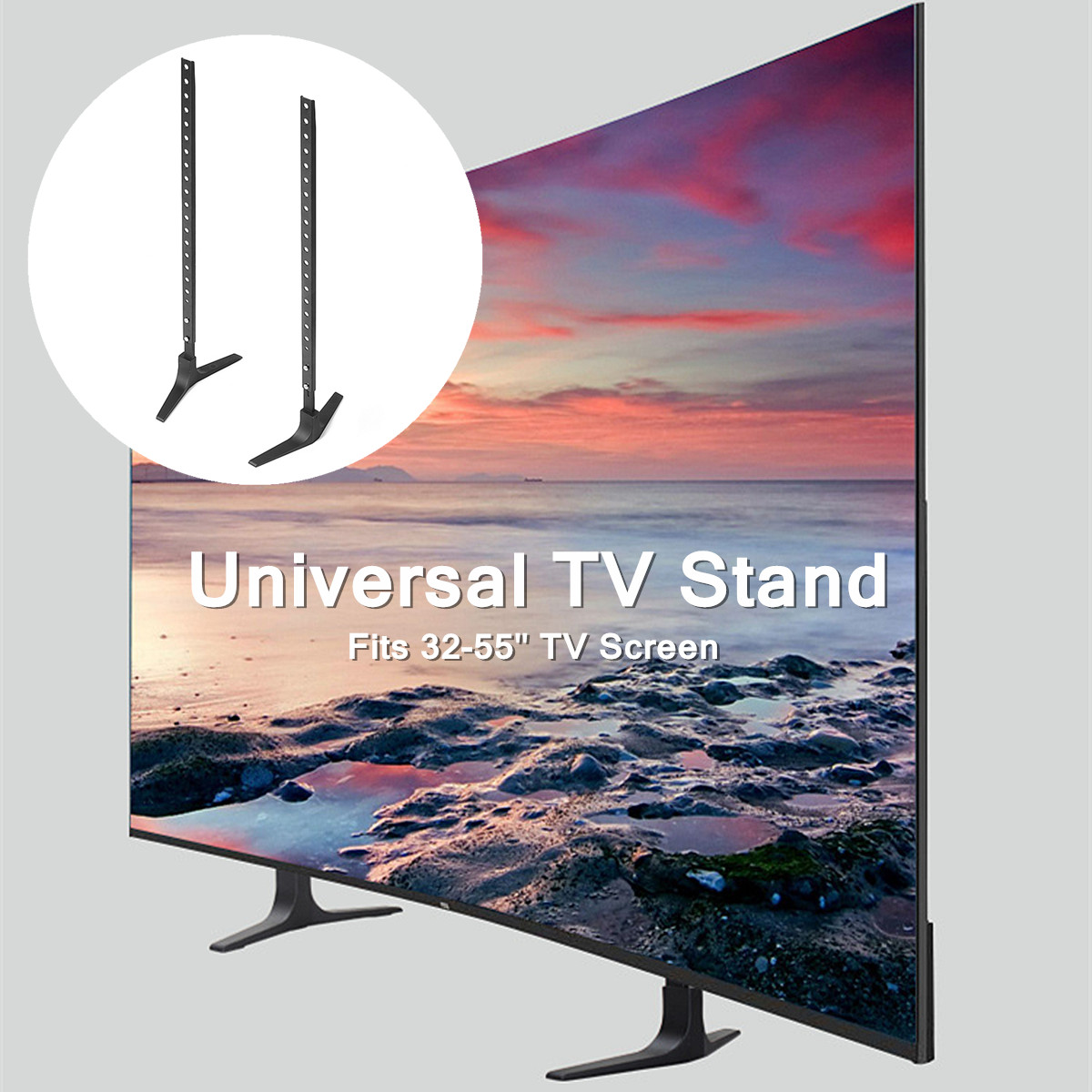 """UNIVERSAL TABLE TOP TV STAND BASE Plasma Flat Screen LCD HD LED Mount 22/"""" 65/"""""""